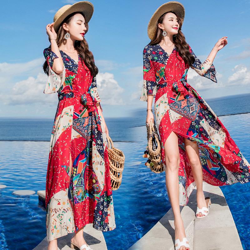 茶卡盐湖裙子草原青海湖云南旅游必备衣服女装夏季出游拍照连衣裙