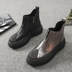 欧洲站2020秋冬季新款女鞋英伦风真皮水钻厚底马丁靴松糕单靴短靴