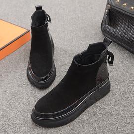 欧洲站2020秋季新款女鞋尖头平底磨砂皮马丁靴侧拉链厚底英伦短靴