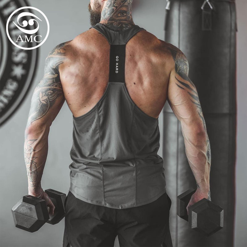 2020 mens spring and summer new sports leisure fitness elastic sweat absorption quick drying splicing I-shaped pants vest