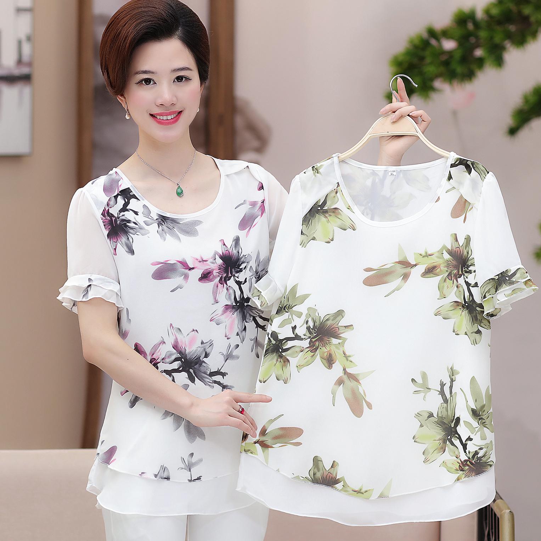 妈妈装夏装30-40-50岁短袖T恤中老年人上衣服装中年妇女装雪纺衫