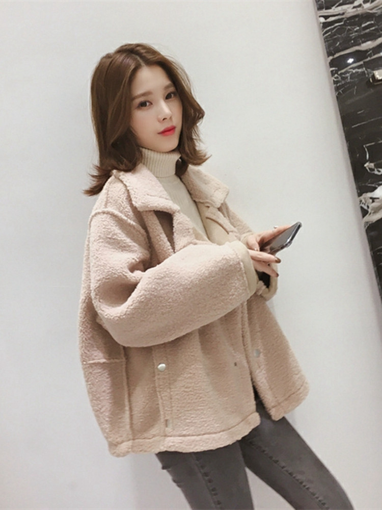 Fall / winter 2019 new Korean loose student BF extra heavy versatile jacket female lamb plush short coat fashion