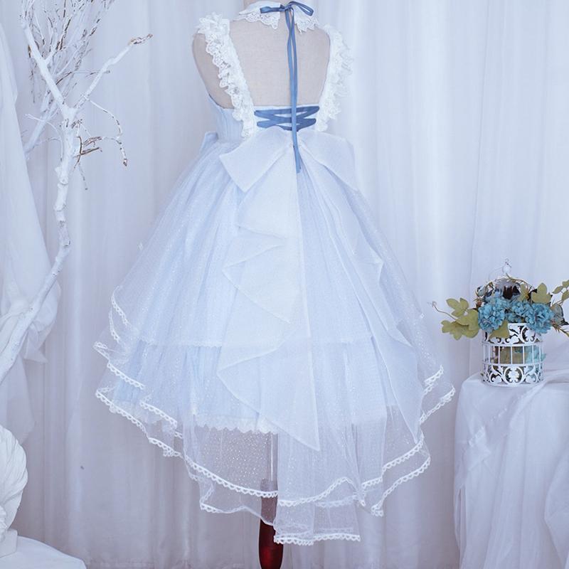 Laciesweetys plain veil short front and long back Lolita blouse original skirt