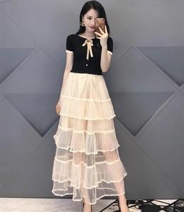 2021年哥弟新特夏新款正品国内代购蝴蝶结网纱蛋糕裙连衣裙女长裙