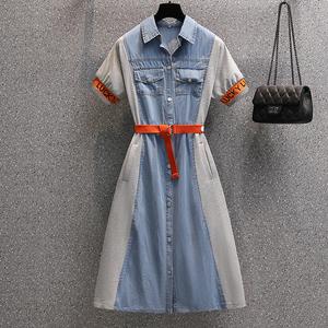 大码女装2021年夏季新款时尚减龄A字裙拼接洋气牛仔连衣裙潮,女装大码女装,尚亿大码女装