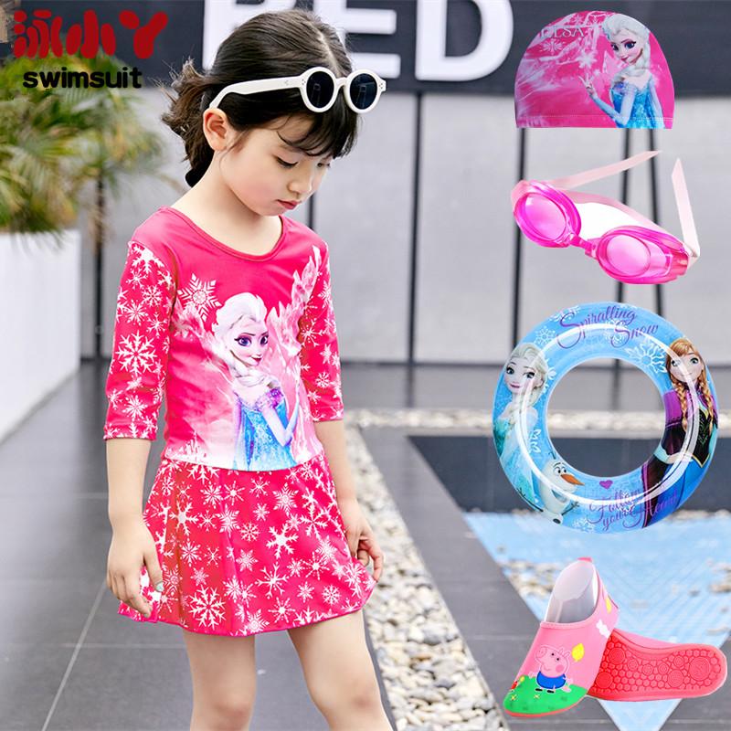 (用68.44元券)儿童泳衣女童泳装宝宝游泳衣套装分体长袖防晒小女孩冰雪公主裙式