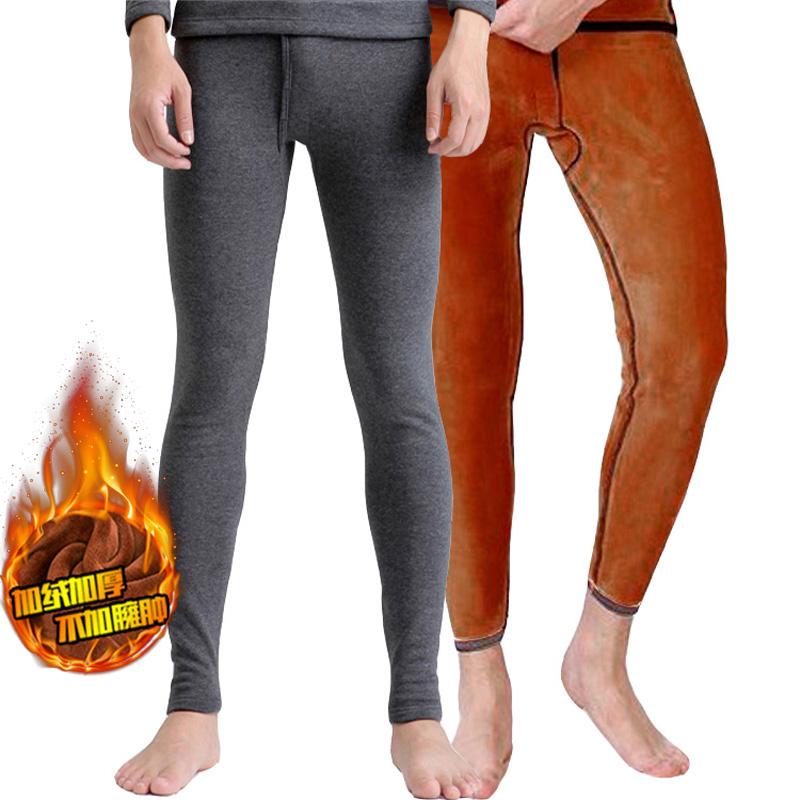 冬季加绒加厚纯棉金丝绒保暖裤男士单条双层大码超柔黄金甲绒毛裤
