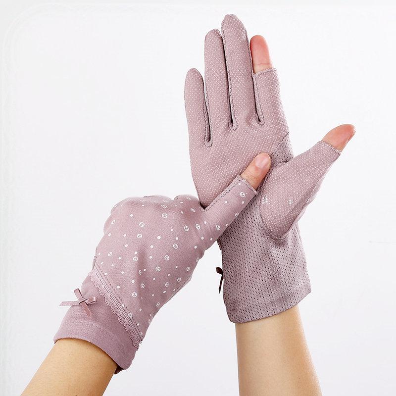 Sun proof gloves for womens Summer Half Finger cotton anti UV half cut driving anti slip thin missing finger cycling sunshade