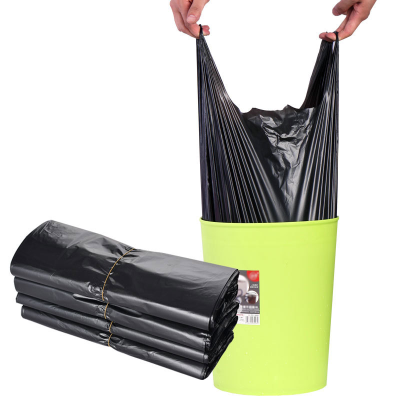 背心式黑色加厚垃圾袋家用一次性手提式垃圾袋塑料袋背心大号厂家