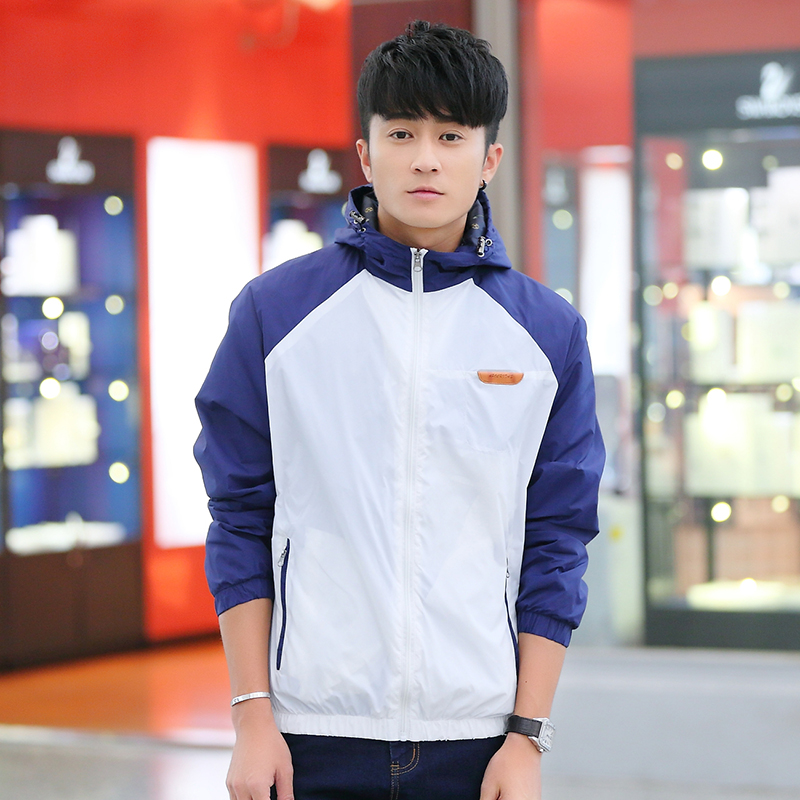 Autumn and summer long sleeve sunscreen clothes minimalist jacket mens casual Korean slim fit fashion wear youth thin Hooded Jacket
