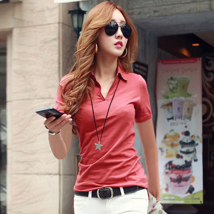 夏日韩版单色t恤女短袖有带领子汗衫夏季全棉质上衣服女装夏天T��