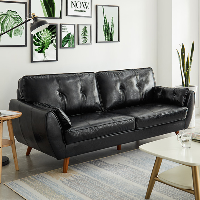 Double seat leather sofa combination living room three person modern simple Japanese style small family leather art sofa