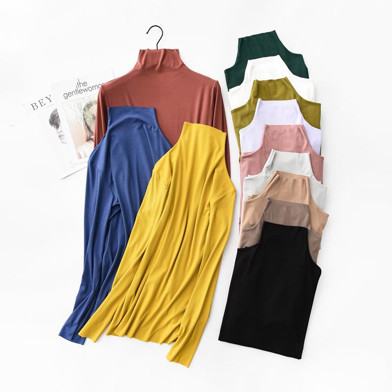 (用35.1元券)高领打底衫女长袖秋季中长款黑色修身t恤莫代尔堆堆领薄款上衣