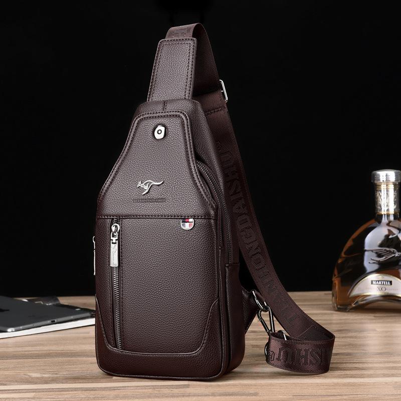 2019 new mens chest bag outdoor sports mens bag single shoulder bag leisure Soft Leather Bag Messenger Bag Small Backpack trend