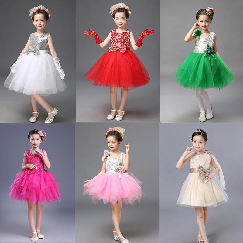 �和��Y服公主裙亮片表演服主持人蓬蓬�裙演出�和��Y服婚�女童裙