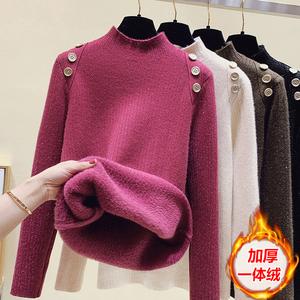 挂拍~2021年秋冬装加绒加厚一体绒半高领打底毛衣女,女装针织衫/毛衣,小书包服饰