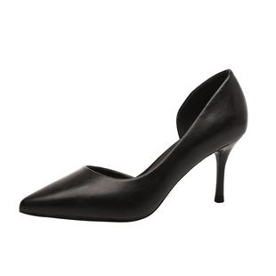 高跟鞋女細跟百搭側空白色單鞋2020春夏新款黑色職業正裝禮儀女鞋