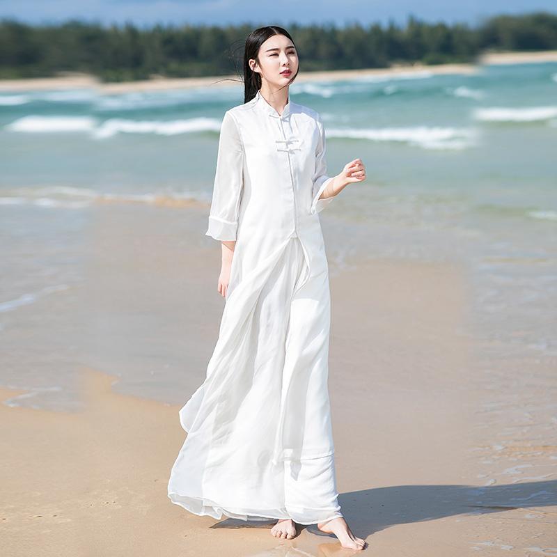 夏装新款雪纺改良汉服旗袍文艺复古连衣裙
