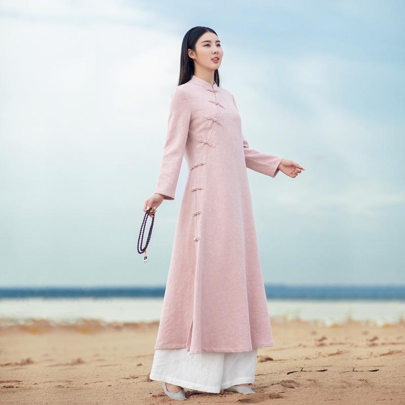 秋冬棉麻加绒改良旗袍连衣裙复古中国风禅意茶服亚麻文艺中式女装
