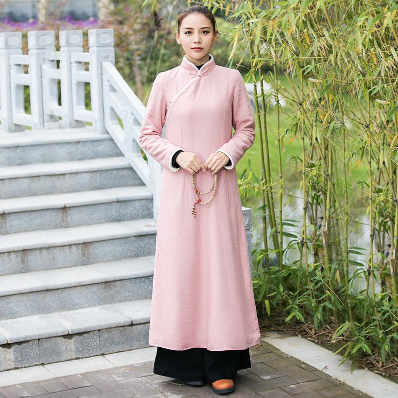 秋冬款中式盘扣棉麻改良旗袍连衣裙中长款复古中国风茶服禅意女装