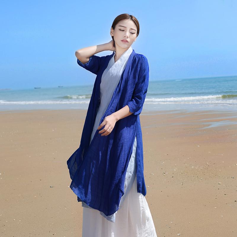 中国风外搭开衫棉麻长袖中式上衣秋民族风复古女装亚麻茶服中长款