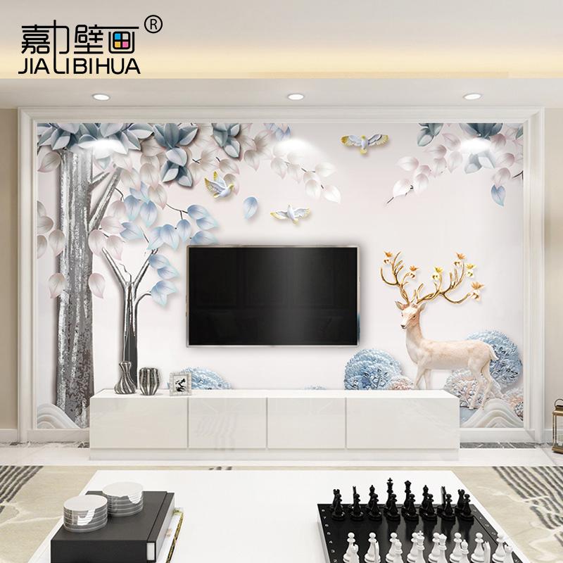 电视背景墙壁纸简约现代客厅5d立体墙布麋鹿北欧风格影视装饰壁画