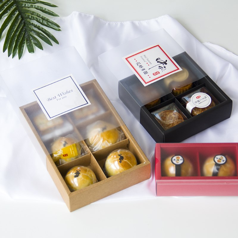 2 / 4 / 6 pieces of egg yolk crispy box cabinet cupcakes snow Meiniang set packaging box gift bag mid autumn moon cake