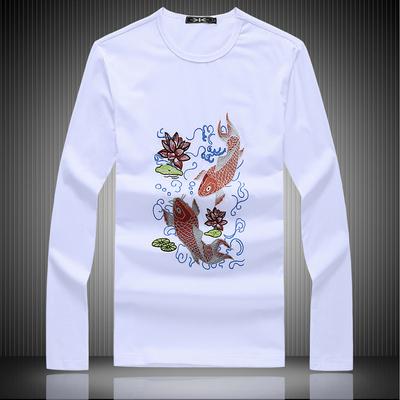 2020年春裝新款長袖t恤刺繡鯉魚 錢塘5028 1901 P65白 平鋪