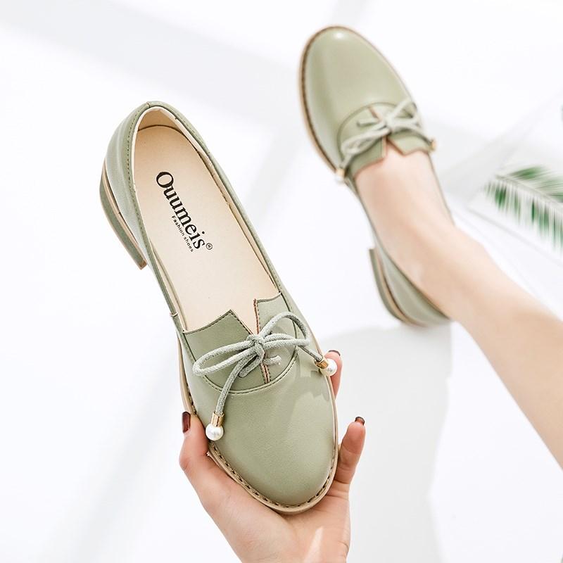 流行女鞋春季2020新款夏季浅口单鞋女粗跟韩版百搭仙女小皮鞋