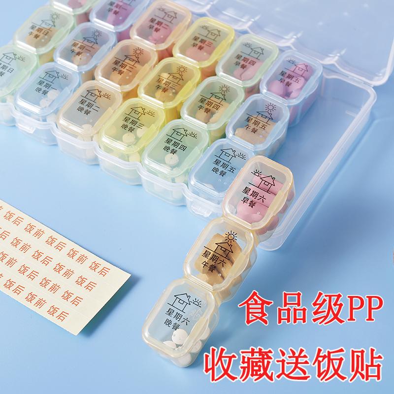 药盒便携分装一周药物密封药收纳盒