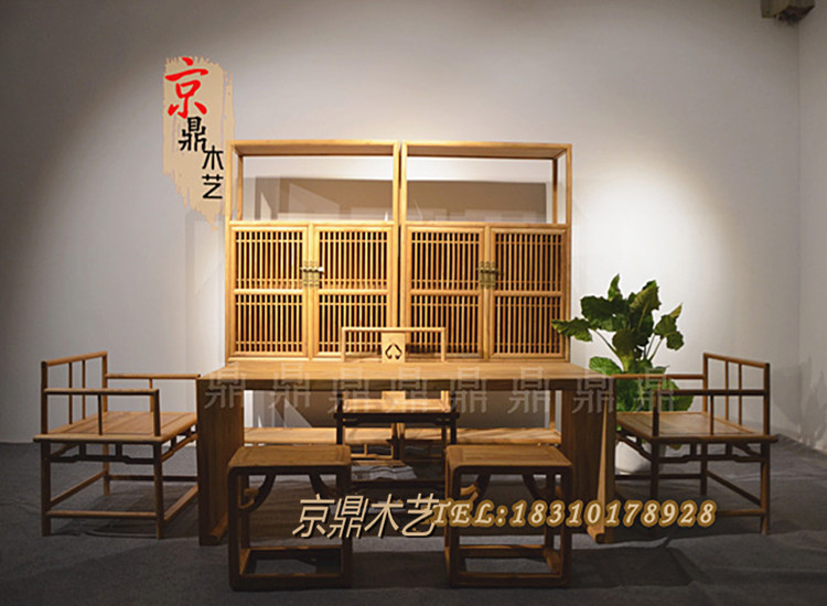Новый китайский стиль чайный стол старый вяз краски обеденный стол стул сочетание современный простой обеденный стол стул сочетание войти крупнолистовой чай стол