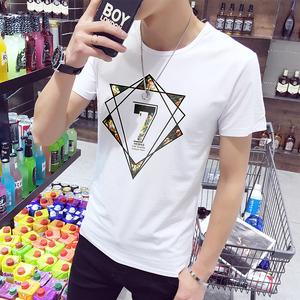 领2元券购买夏季男士T恤男短袖百搭修身体恤情侣半袖白丅衣服男装打底衫潮流