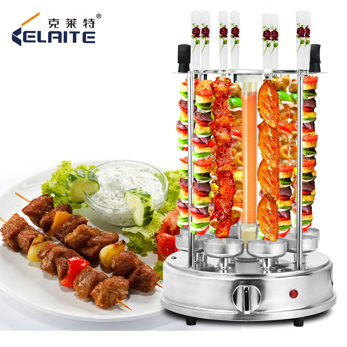 克萊特 燒烤爐家用無煙電烤爐自動旋轉烤肉機烤羊肉串燒烤機包郵