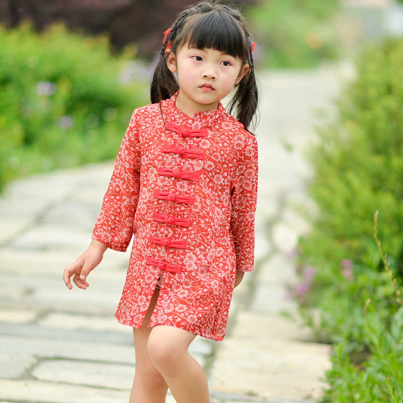 Chinese style parent-child clothes retro small broken flowers multi disc button Chinese style top Chiffon sunscreen shirt summer thin coat shirt