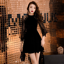 Small evening dress women 2019 new slim long sleeve party dress temperament black short can be worn at ordinary times