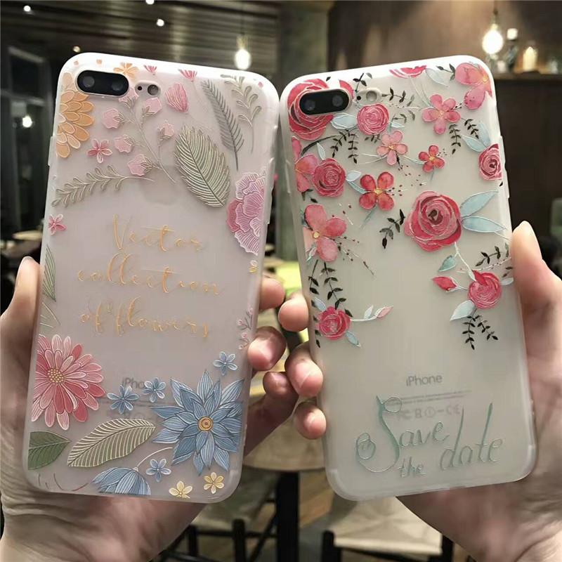 女款花係 蘋果6代手機殼iphone6 6splus 浮雕矽膠保護套女款