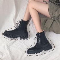 显脚小马丁靴女潮ins2019年新款秋季冬加绒英伦风网红瘦瘦短靴子