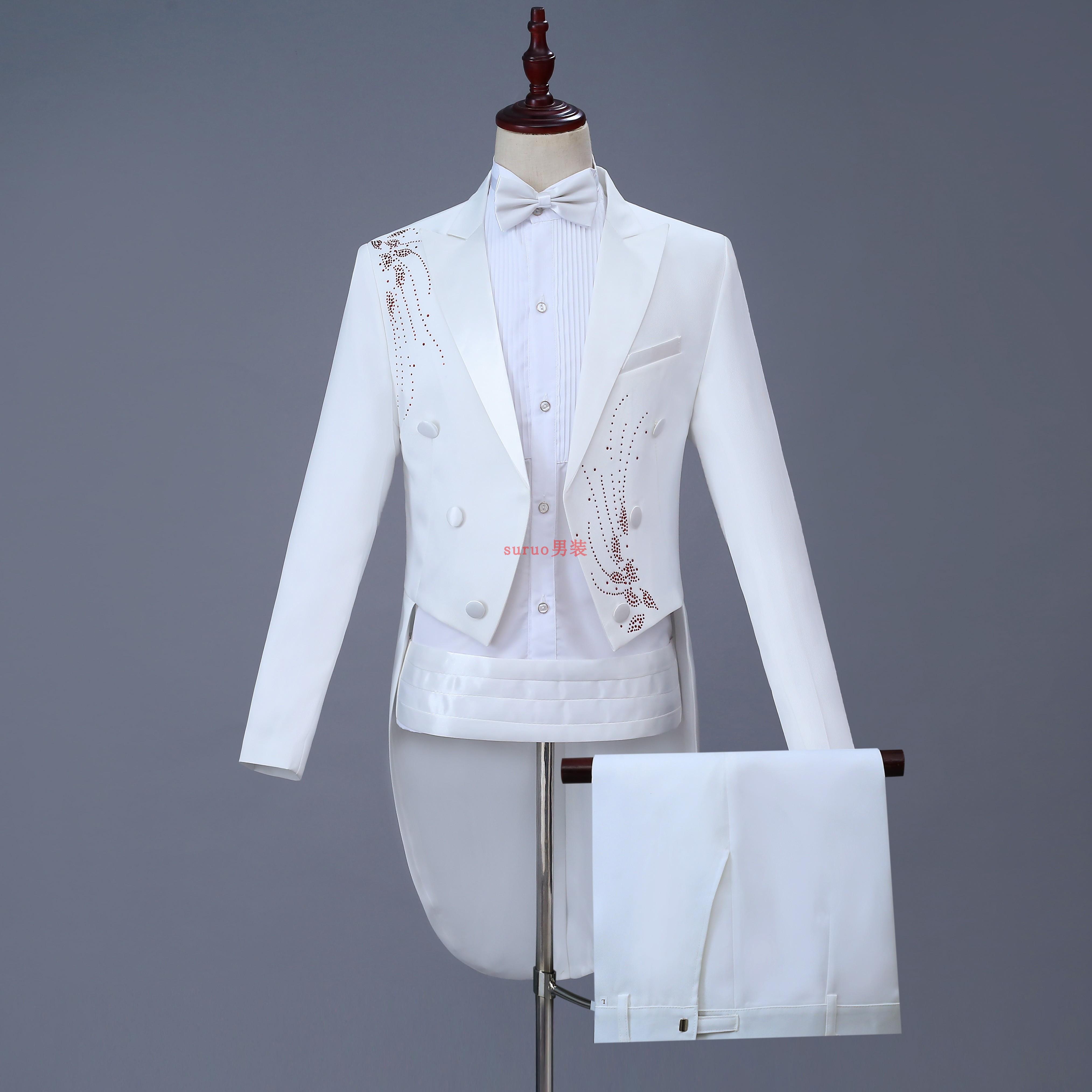 Tuxedo mens slim dress suit mens chorus suit stage performance suit magic mens Tuxedo