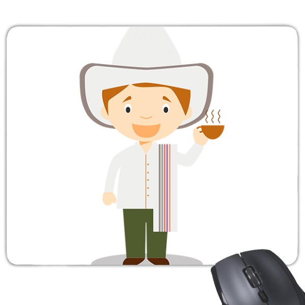 White hat Columbia cartoon character game non slip rubber mouse pad gift