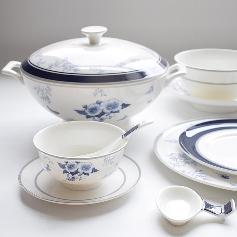 雷澳娜/REONE 碗碟套装高档骨瓷欧式餐具陶瓷组合结婚送礼中式碗