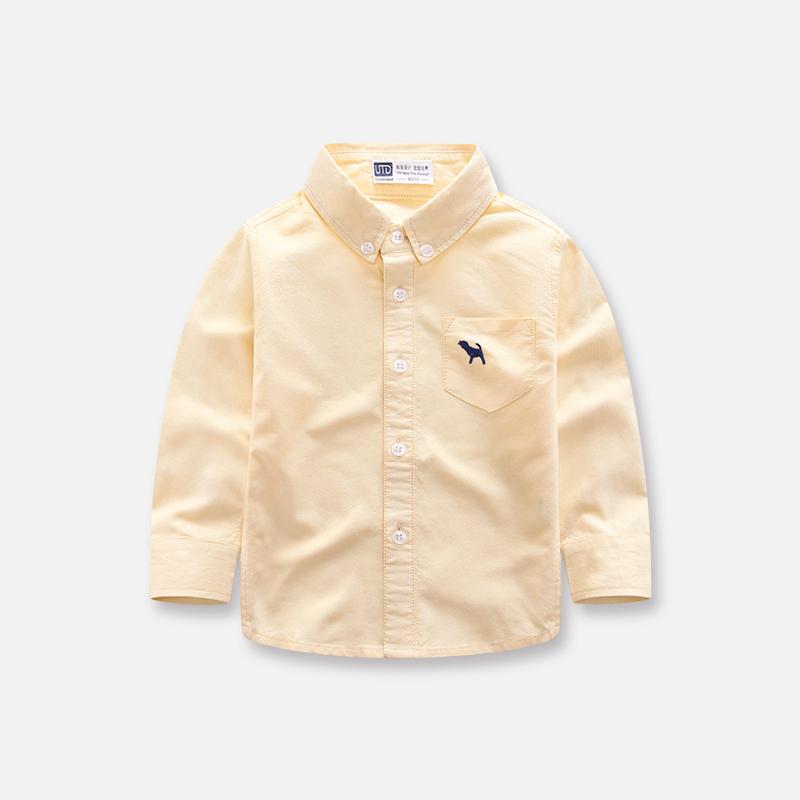 男童长袖衬衫春秋季新款儿童装纯棉打底衬衣女童宝宝百搭外穿上衣