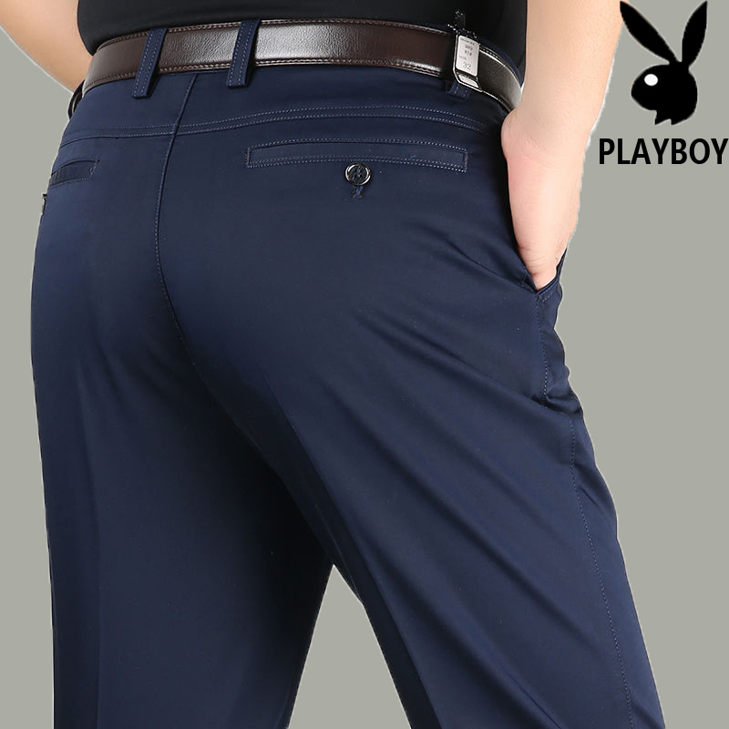 Playboy casual pants spring and summer thin middle-aged loose straight tube dad 50-70 ice silk cotton pants