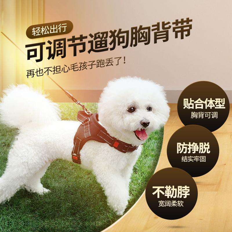 狗狗牵引绳泰迪狗链猫咪小型中型犬小狗遛狗绳胸背带宠物用品项圈