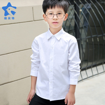 Boys white shirt long sleeve pure white shirt childrens clothing in the childrens uniforms students show clothes plus velvet thickening