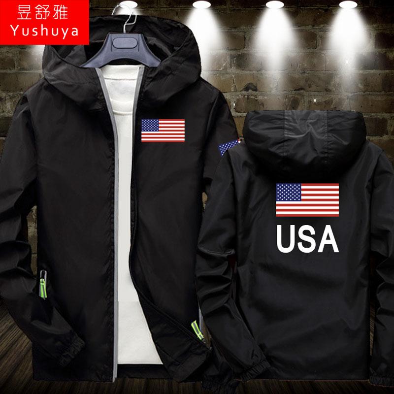 美国外套薄款男女运动体育足球篮球夹克开衫拉链USA美利坚上衣服,可领取2元天猫优惠券