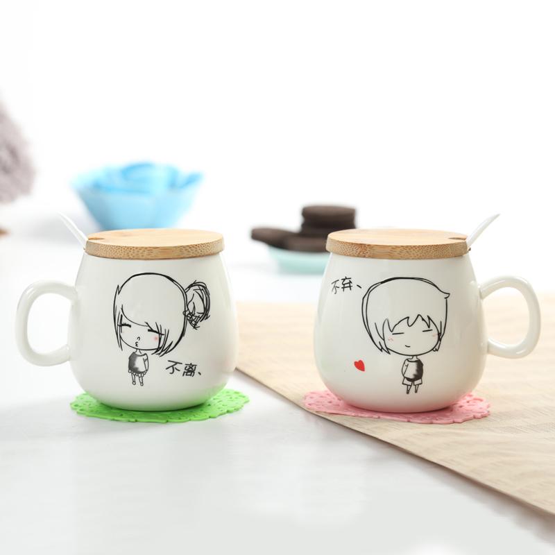 鉑玉 情人節 不離不棄情侶杯一對 陶瓷對杯帶蓋馬克杯子