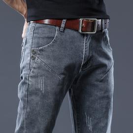秋季新款灰色牛仔裤男韩版潮流男士休闲裤修身小脚裤百搭弹力长裤图片