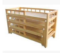 Small Shiyang Kindergarten four layers of Pinus camphor push pull bed children push pull bed solid wood bed students bedding Bed