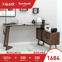 加兰全实木日式书桌橡木转角写字桌简约家用办公储物台式电脑桌子