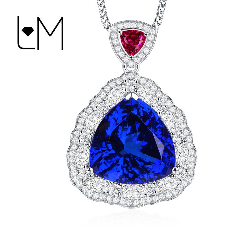 灵妙珠宝天然5A坦桑石吊坠女豪华 18K金镶嵌天然钻石彩色宝石项坠